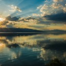Sunset Ohrid lake Albania